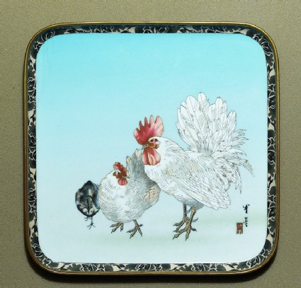 Tray with cockerel, hen, and chick
