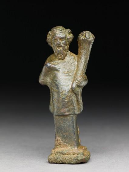 Hip herm of Silenus or a satyr holding a cornucopia
