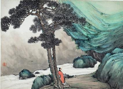 Figure standing beneath a tree