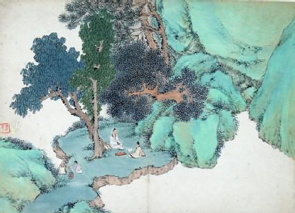 Two figures having tea under a tree