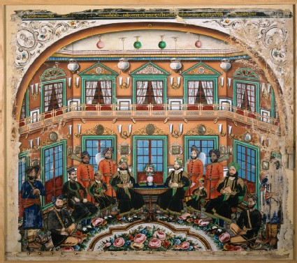 Rajput noblemen in an interior