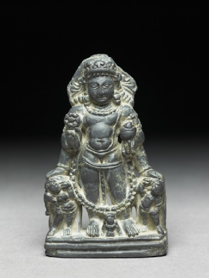 Figure of Vishnu with two attendant figures