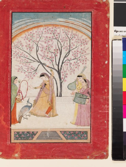A lady on a terrace grasping a tree branch, with peacock, maid, and two musicians