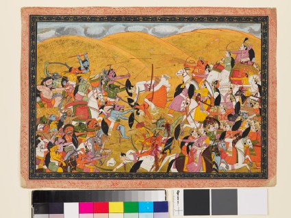 Battle scene between armies of devas and asuras