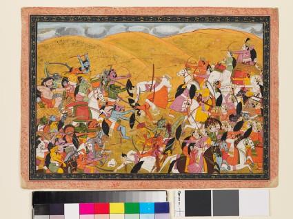 Battle scene between armies of devas and asuras