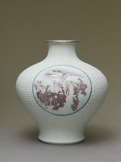 Baluster vase with cartouches depicting Mount Fuji, samurai, and chickens