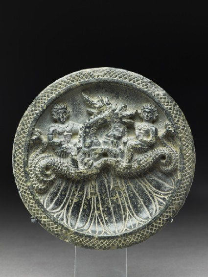 Palette with Nereids, or sea nymphs, riding ketoi, or sea monsters