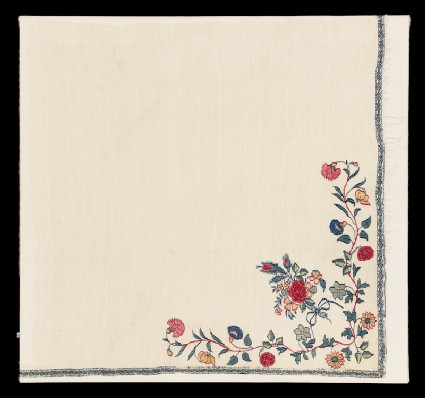 Shawl border fragment with floral design