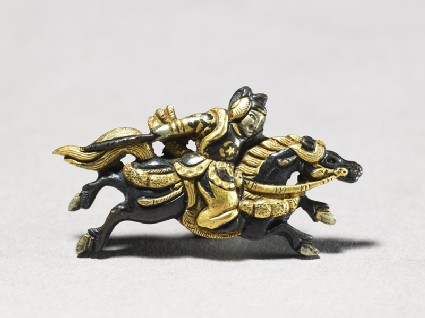 Menuki in the shape of mounted samurai