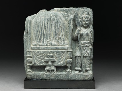 Relief fragment depicting the female warrior Yavani guarding the Buddha's relics