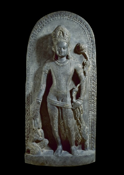 Stele with Avalokiteshvara holding a lotus