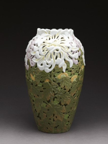 Art Nouveau style vase with chrysanthemums