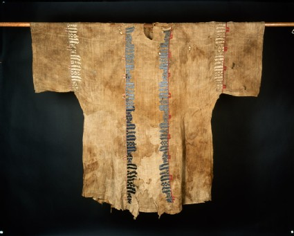 Man's funeral tunic with pseudo-inscription