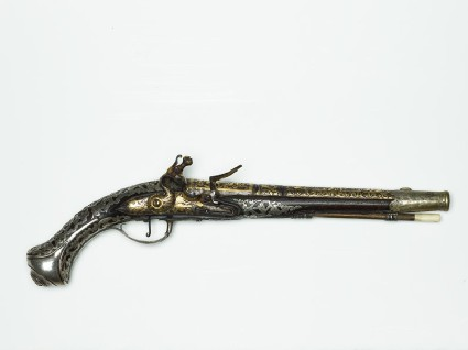 Flint-lock pistol with overlaid decoration