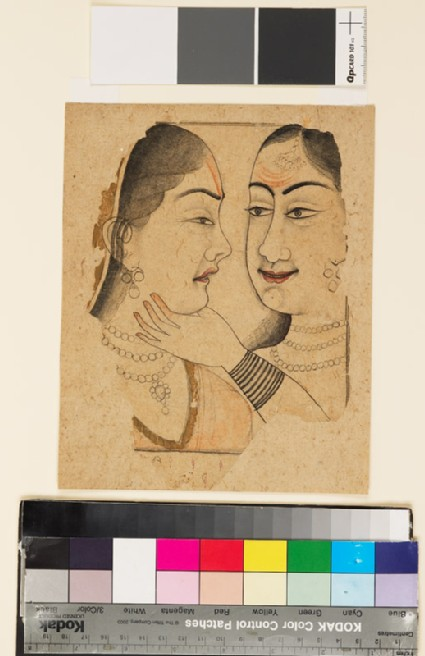 Two ladies, one caressing or squeezing the throat of the other