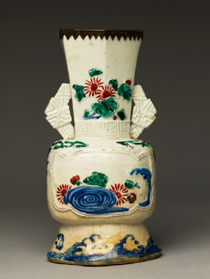 Vase with flowers and waves