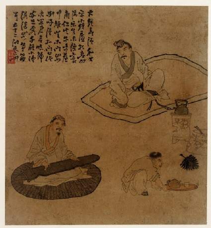 Figures preparing tea and playing musical instruments