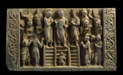 Relief depicting the Buddha's descent from the Heaven of the Thirty-three gods