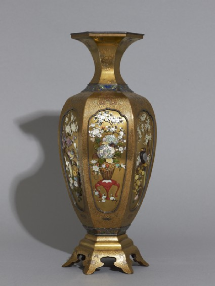 Hexagonal baluster vase with flowers and birds