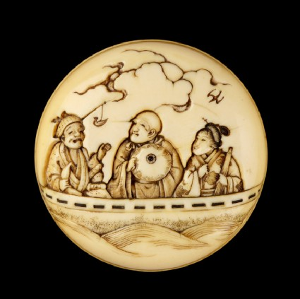 Manjū netsuke depicting Saigyō Hōshi in a ferry