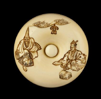 Manjū netsuke depicting characters from the Nō play 'Okina'