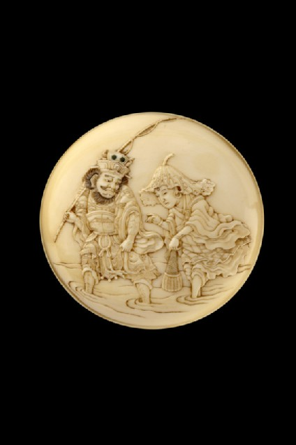 Manjū netsuke depicting Enma-ō and Jizō Bosatsu