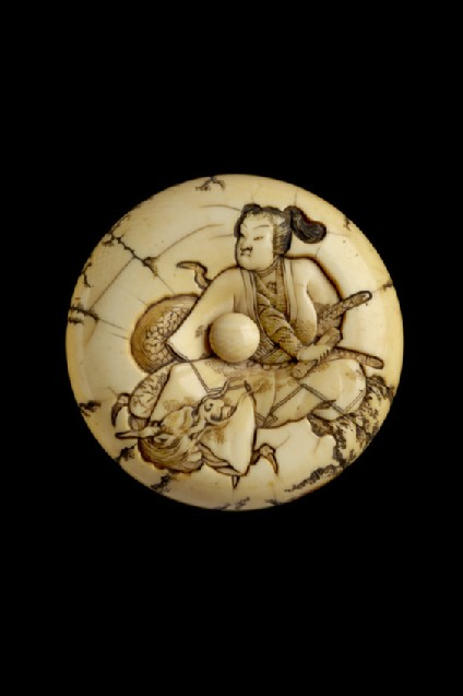 Manjū netsuke depicting Hōjō no Tokimasa meeting Benten disguised as a dragon