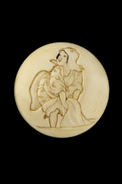 Manjū netsuke depicting a young girl washing cloth in the river