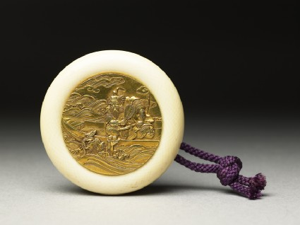 Kagamibuta-style netsuke depicting Takenouchi no Sukune receiving the precious jewel from Ryūjin, the Dragon King of the Sea
