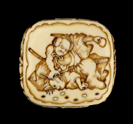 Ryūsa-type netsuke depicting a retainer of Minamoto no Yorimitsu slaying a goblin, with more demons on the reverse