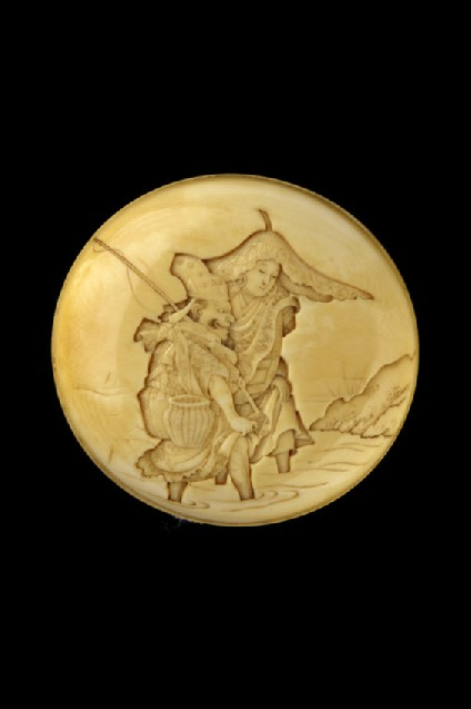 Manjū netsuke depicting Enma-ō leading Jizō Bosatsu across the river Sanzu