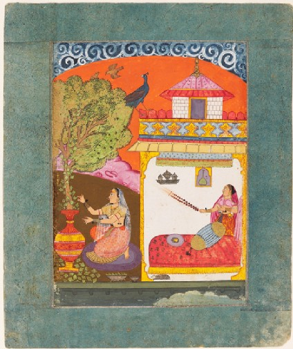 A lady plucking leaves, illustrating the musical mode Gunakali Ragini
