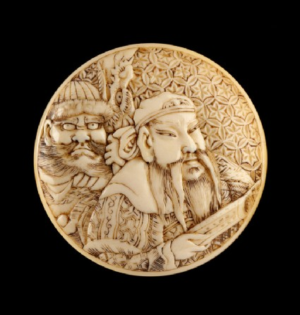 Manjū netsuke depicting Chōhi and Kan'u