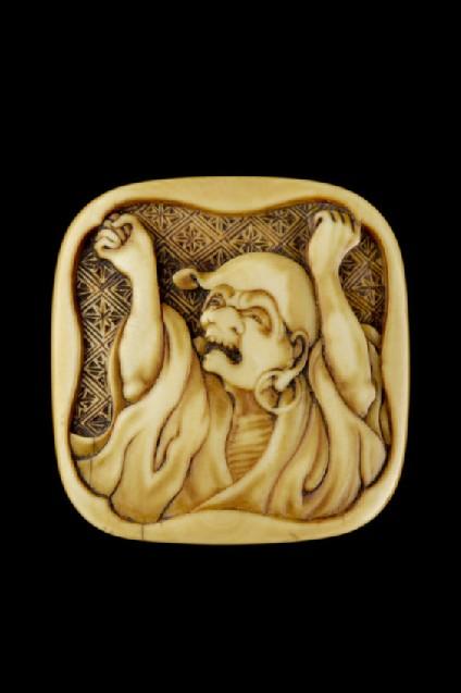 Manjū netsuke depicting Daruma stretching and yawning