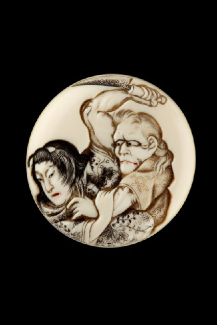 Manjū netsuke depicting the witch of Adachigahara attempting to kill a girl