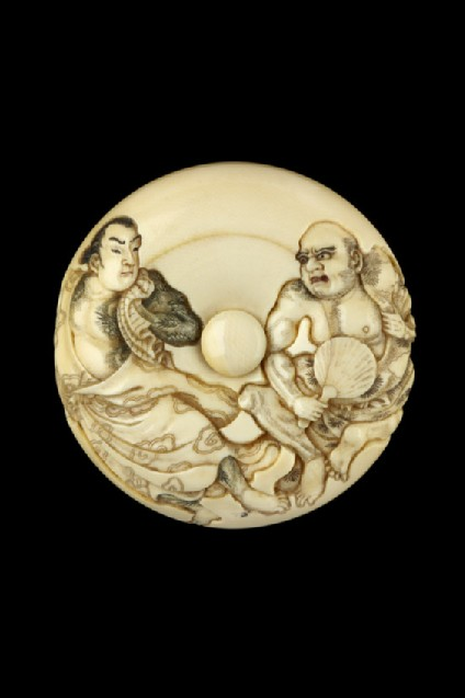 Manjū netsuke depicting Byōtaishū Setsuei and Shōsharan Bokushun in an episode from 'The Outlaws of the Marsh' (Shuihu zhuan). Reverse, a bowl of food