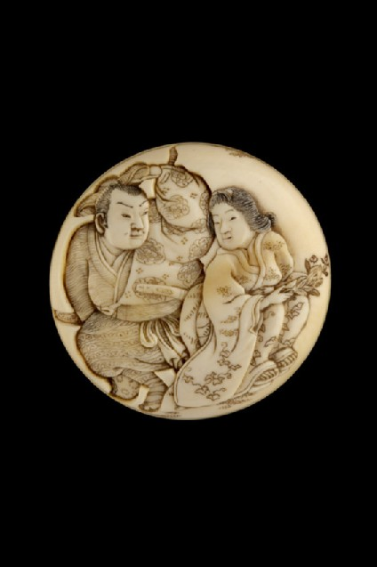 Manjū netsuke depicting the story of Ōta Dōkan