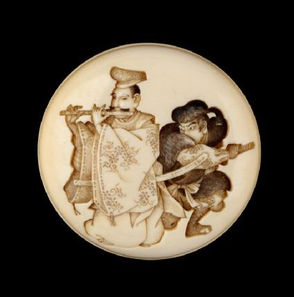 Manjū netsuke depicting Yasumasa playing his flute about to be attacked by the bandit Hakadamare