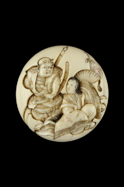 Manjū netsuke depicting Benkei and Tamamushi-hime. Reverse, bamboo blind and Benkei's collection of rustic weapons