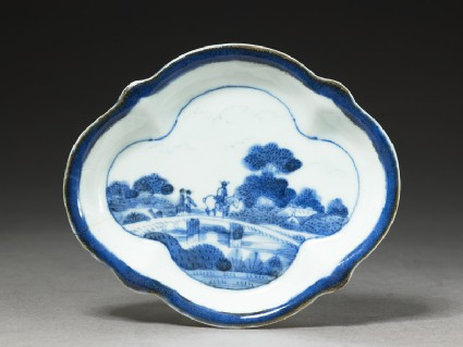 Blue and white dish with European-style landscape scene