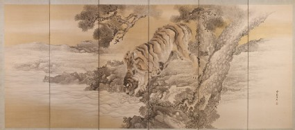 Six-fold screen depicting a drinking tiger