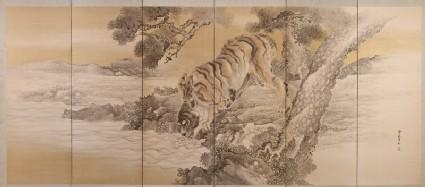Six-fold screen depicting a drinking tiger