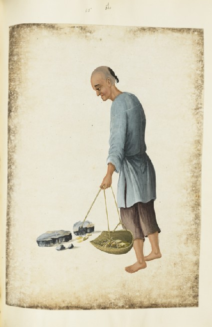 A man carrying a basket
