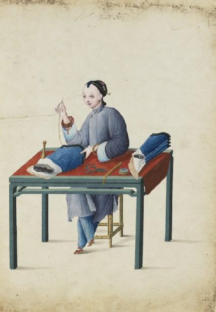 A Woman Making Stockings