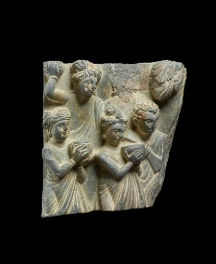 Relief fragment depicting Lokapalas presenting bowls