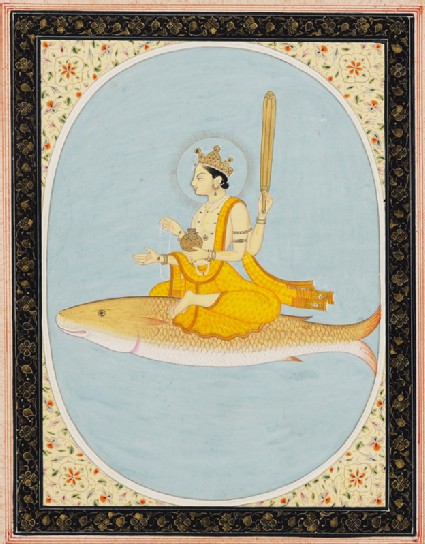 The planetary deity Brihaspati, or Jupiter, riding on a fish