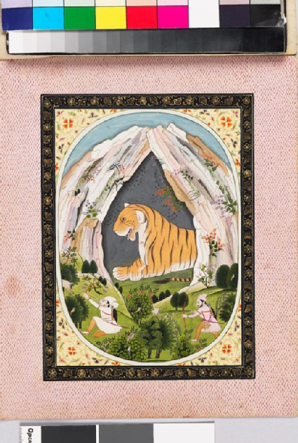 Leo, or Sinha, the zodiac sign, shown as a tiger in a cave