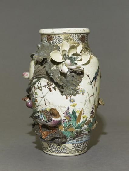 Satsuma style vase with lotus plants and ducks