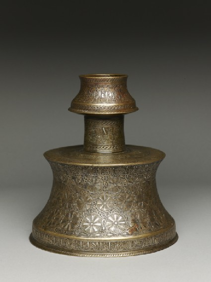 Candlestick with rosettes inscribed with good wishes