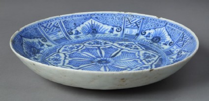 Plate with floral sprays and geometric decoration